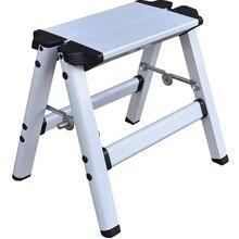 Escalera plegable de 2 escalones con plataforma de aluminio, seguridad antideslizante de carga máxima de 150KG, doble cara con escaleras gruesas