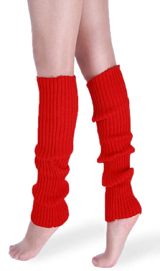 US Women Party Legwarmers Knitted Neon Dance 80s Costume 1980s Lady Leg Warmers