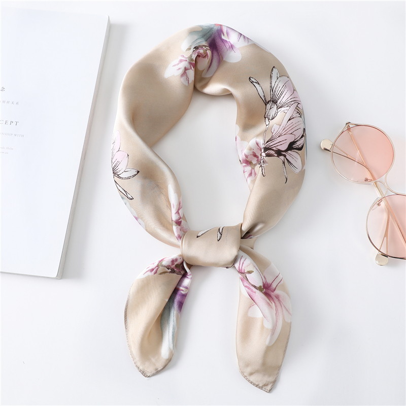 Silk Feeling Scarf Women Spring Summer New 2020 Shawls High Quality Foulard Bandana 70cm Square Neck Scarves Femme Hair Band