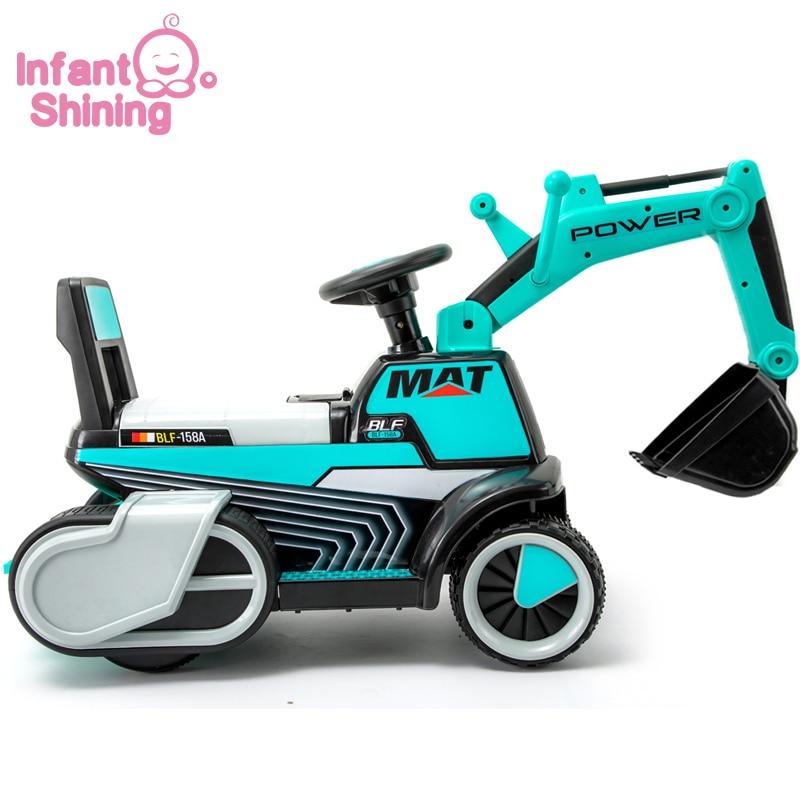Enfant brillant enfant pelle Ride sur jouet bébé voiture équilibre voiture ingénierie véhicule avec lumière LED grand cadeau costume pour 1-5y bébé - 2