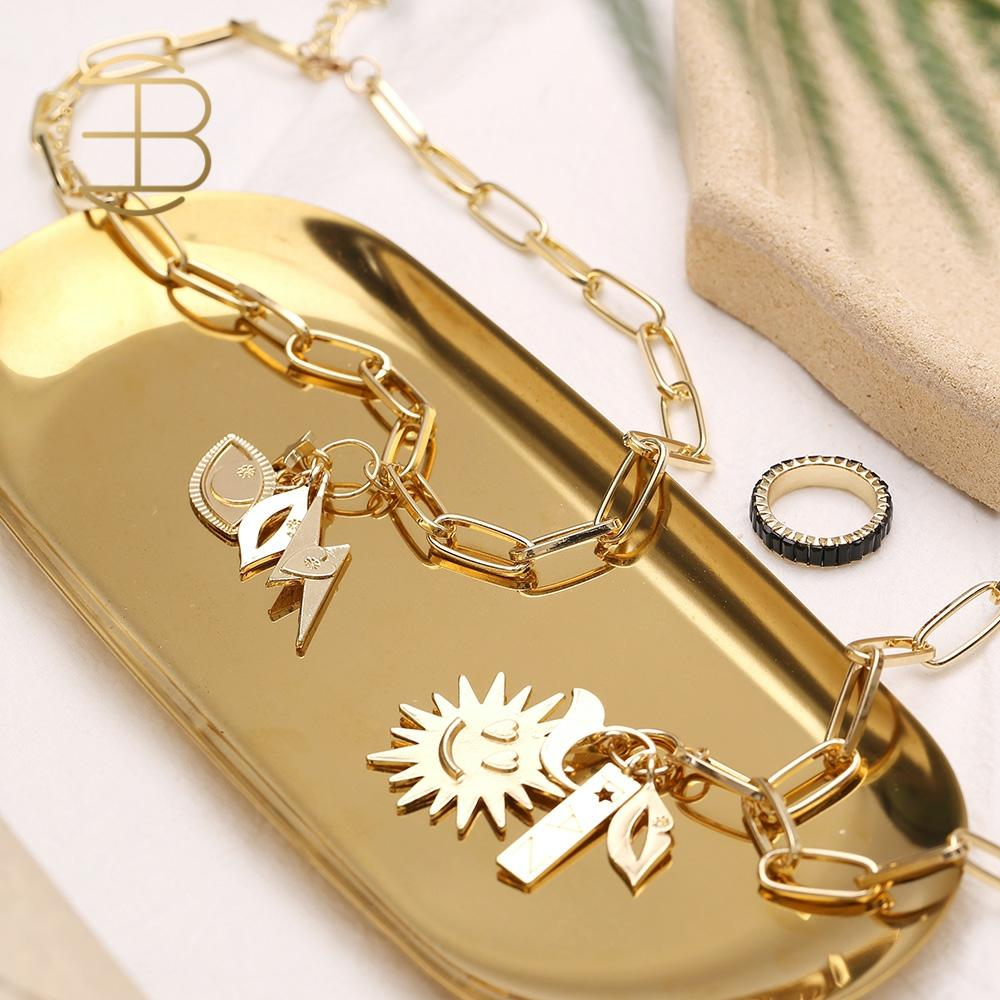 2020 New Cute Gold Color Chunky Chain Smile Sun lightning Eye Lip Star Charms Sweater Necklaces For Women Gold Necklace