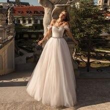 Платье Свадебное ТРАПЕЦИЕВИДНОЕ с открытыми плечами и бисером
