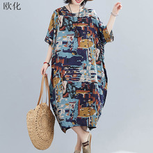 ¡Verano 2020! Vestido veraniego de talla grande para mujer 4XL 5XL 6XL vestido Maxi de lino de algodón para mujer vestido estampado abstracto Vintage