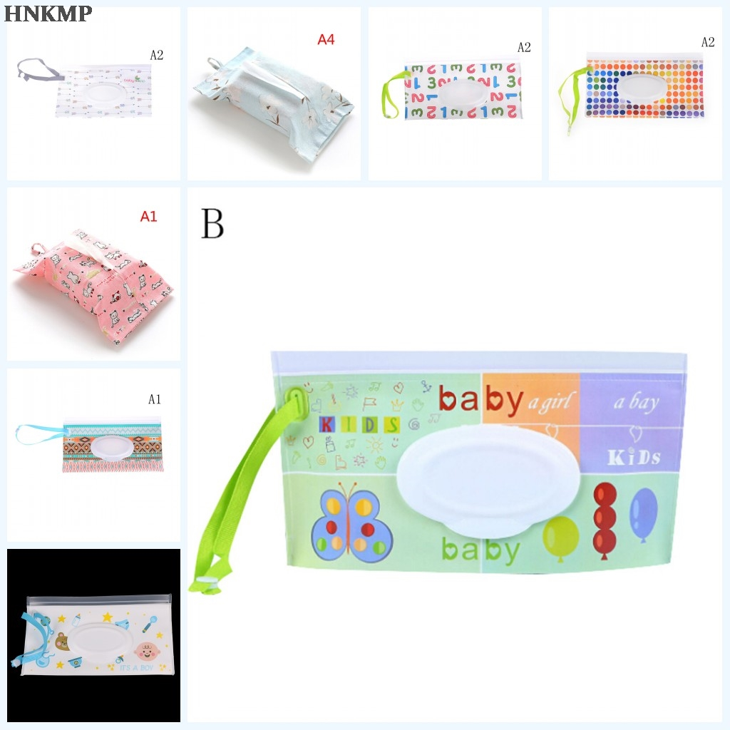 1bag Wet Wipes Portable Cartoon  Clutch Carrying Bag Wet Paper Tissue Container Dispenser Snap-strap Pouch Light Weight