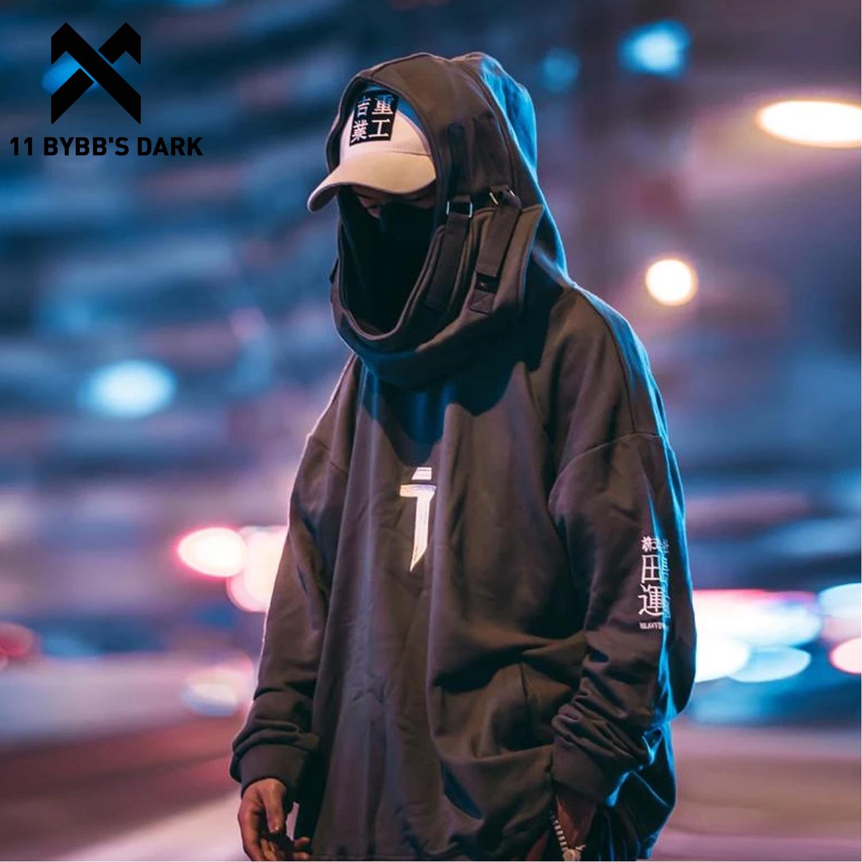 11 BYBB'S DARK Japanese Streetwear Hoodie Men Harajuku Neck Fish Mouth Pullovers Oversized Sweatshirts Hip Hop Hoodie Techwear