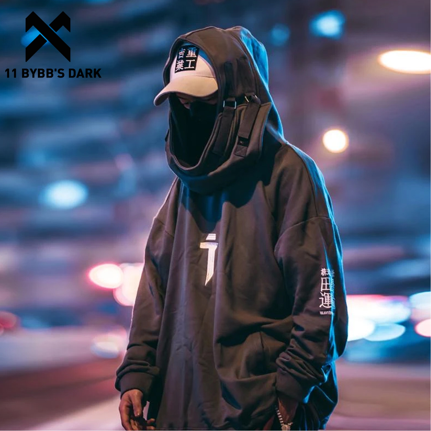 11 BYBB'S DARK Japanese Streetwear Hoodie Men Harajuku Neck Fish Mouth Pullovers Sweatshirts Oversized Hip Hop Hoodies Techwear
