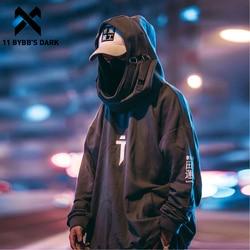 11 Bybb's Dark Japanse Streetwear Hoodie Mannen Harajuku Hip Hop Hoodie Hals Vis Mond Truien Oversized Sweatshirts Techwear
