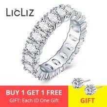 LicLiz, модное роскошное овальное циркониевое кольцо вечности для женщин, микро проложенное цирконием, белое золото, ювелирное изделие для женщин LUR0580A