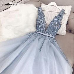 Smileven Sky Blue 2020 Evening Dresses A-line Sleeveless Tulle Appliques Pearls Slit Dubai Saudi Arabic Long Evening Gowns Plus