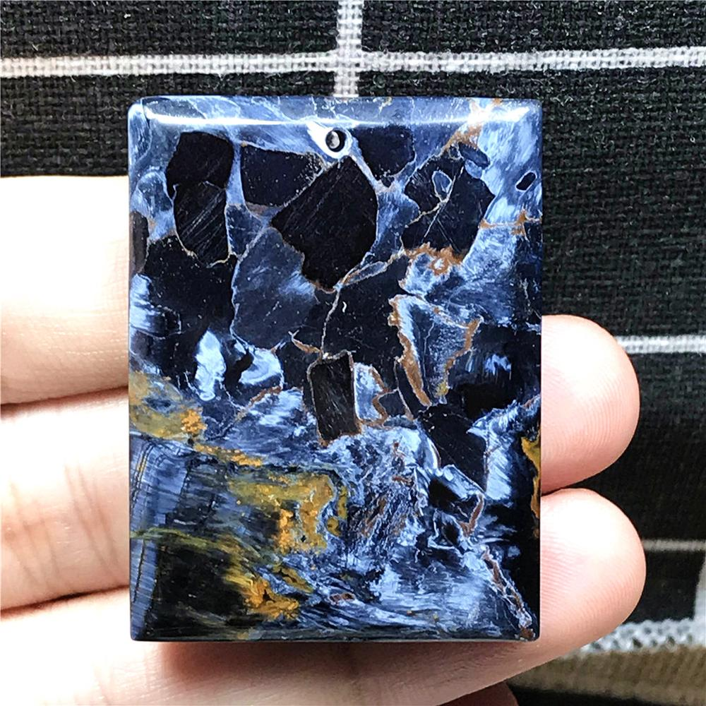 Top Natural Yellow Blue Pietersite Pendant For Woman Man Crystal 43x32x6mm Rectangle Beads Namibia Energy Gemstone Jewelry AAAAA