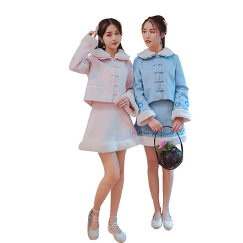 2020 chinese dress women warm suede cheongsams dress girl seven quarter sleeve traditional chinese clothing qipao dresses