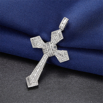 14K Gold Long Diamond Cross Pendant 925 Sterling Silver Party Wedding Pendants Necklace For Women men moissanite Jewelry Gift