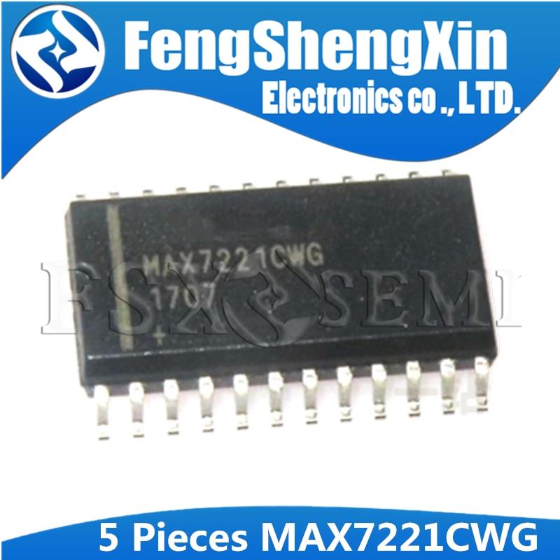5PCS MAX7221CWG MAX7221 8-Digit LED Display Driver IC SOP-24