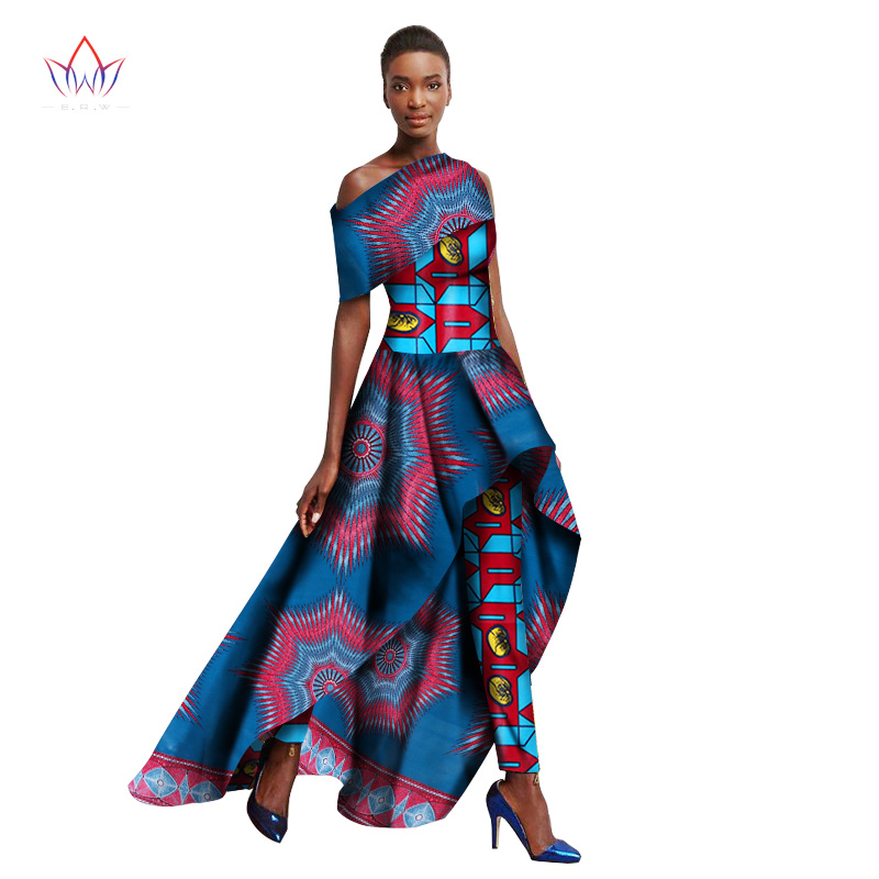 2019 Spring Ankara Fashions Traditional African Clothing For Women Long Dresses + Long Pants Originality Women Pants Suit WY1364