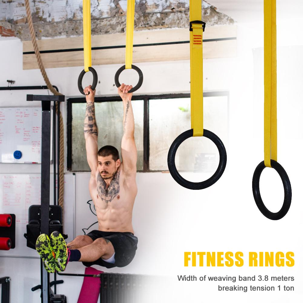 ABS Muscle Training Fitness Gymnastics Ring with Adjustable Buckle Straps 1 Pair for Protection Working out