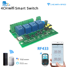Wifi wireless Switch Smart Module,1CH/4CH DC5V 12V 32V 220V,Inching Self locking,RF433,NO,NC,COM.10A Relay,eWeLink APP Control
