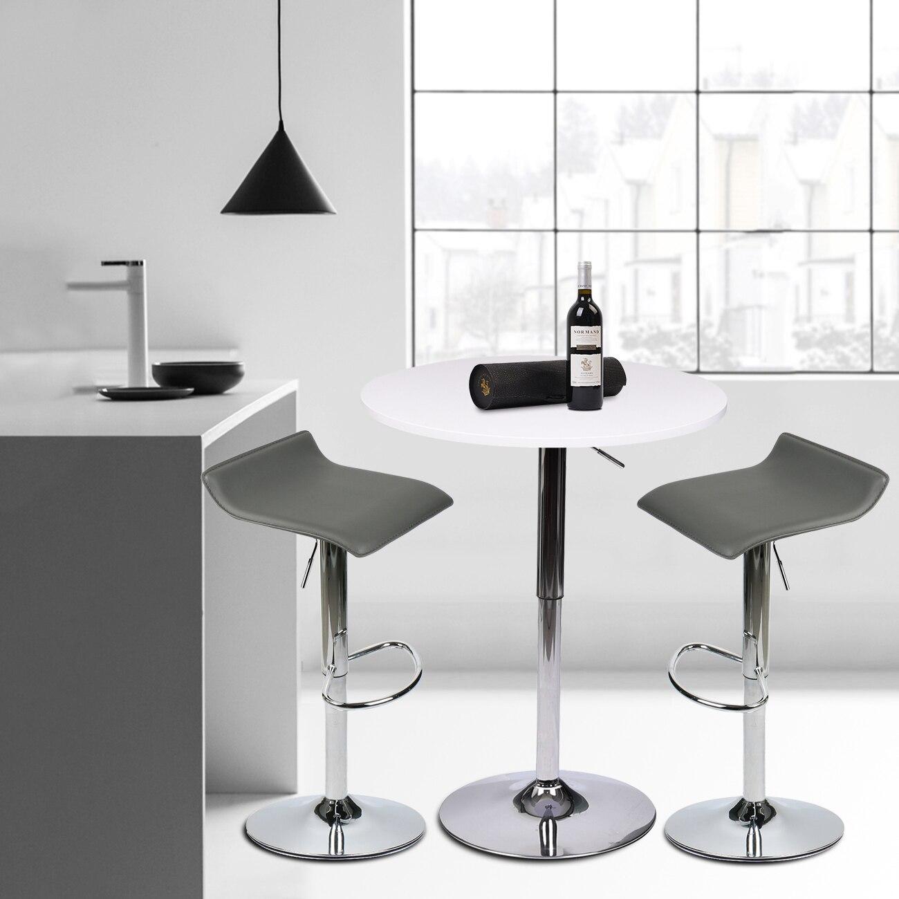 Modern 3 Pcs Bar Table Set W/ 2 Bar Stool PU Leather Hydraulic Counter Chair