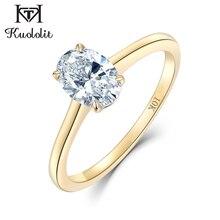 Kuololit 10K الذهب الأصفر 100% مويسانيتي الطبيعية خواتم الأحجار الكريمة للنساء حلقات اليدوية المشاركة العروس هدية غرامة مجوهرات