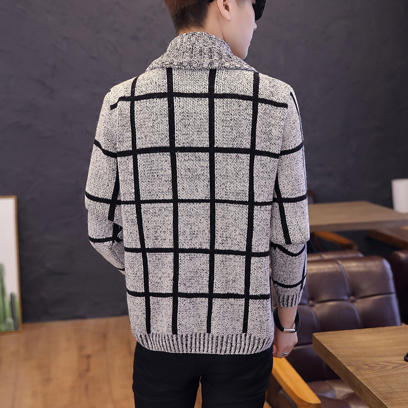 Fashion Loose Fit Sweater Coat Men Thick Warm Long Sleeve Stand Collar Knitting Sweater Male Cardigan Teenager Plus Size 3XL