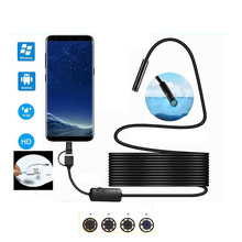 3-in-1 Camera Endoscope HD 1200P IP68 2/5/10M Hard Cable Endoscope Pipe Inspection Camera for Android Car Endoscope