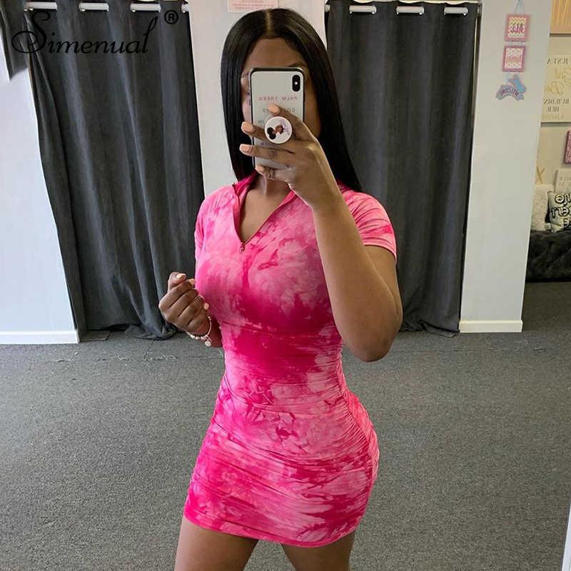 Simenual Tie Dye Zipper Geraffte Frauen Bodycon Kleider Kurzarm Mode Dünne Beiläufige Mini Kleid 2020 Sommer Dünne Heißer Clubwear