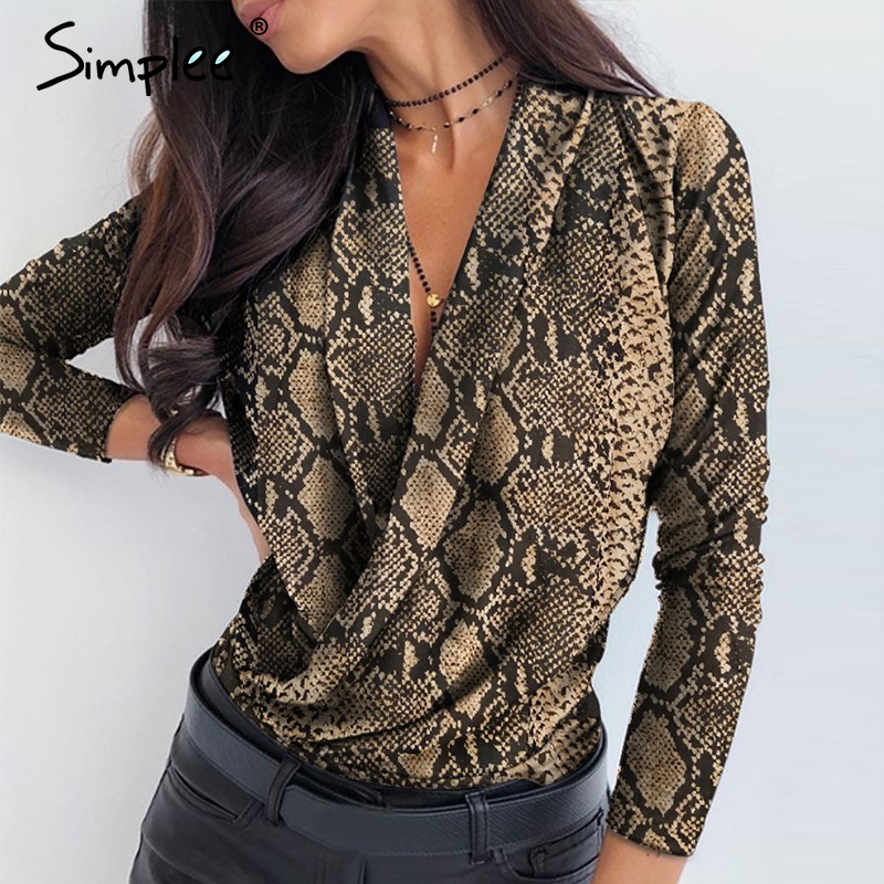 Simplee V neck office ladies blouses shirts Long sleeve autumn winter female white tops Sexy party club slim women blouse 2019 4