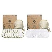 16 unids/set nuevo reutilizable de fibra de bambú algodón de maquillaje almohadilla lavable removedor de limpieza Facial lavar Puff envío de la gota