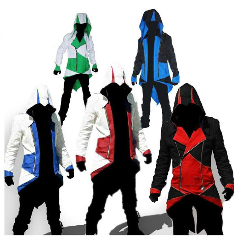 Killer Creed Cosplay Adult Man Woman Streetwear Hooded Jackets Outwear Costume Edward Sleeve Sword Halloween Party Costume