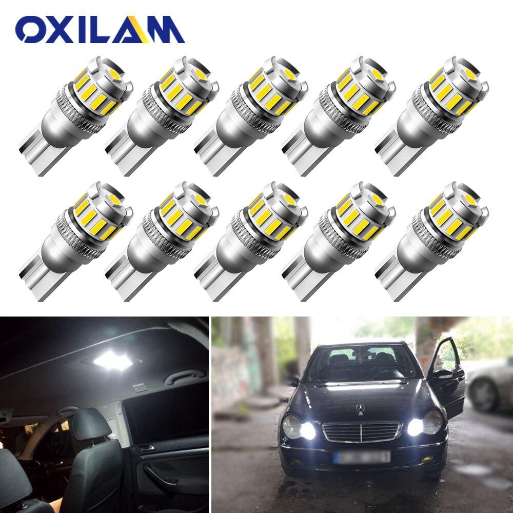 10 قطعة T10 LED خطأ مجاني الأبيض التخليص أضواء لمبة لمرسيدس بنز W205 W210 W212 W221 W202 W177 W213 W 211 163 C207 CLA السيارات مصباح داخلي W5W 3030 SMD 12V