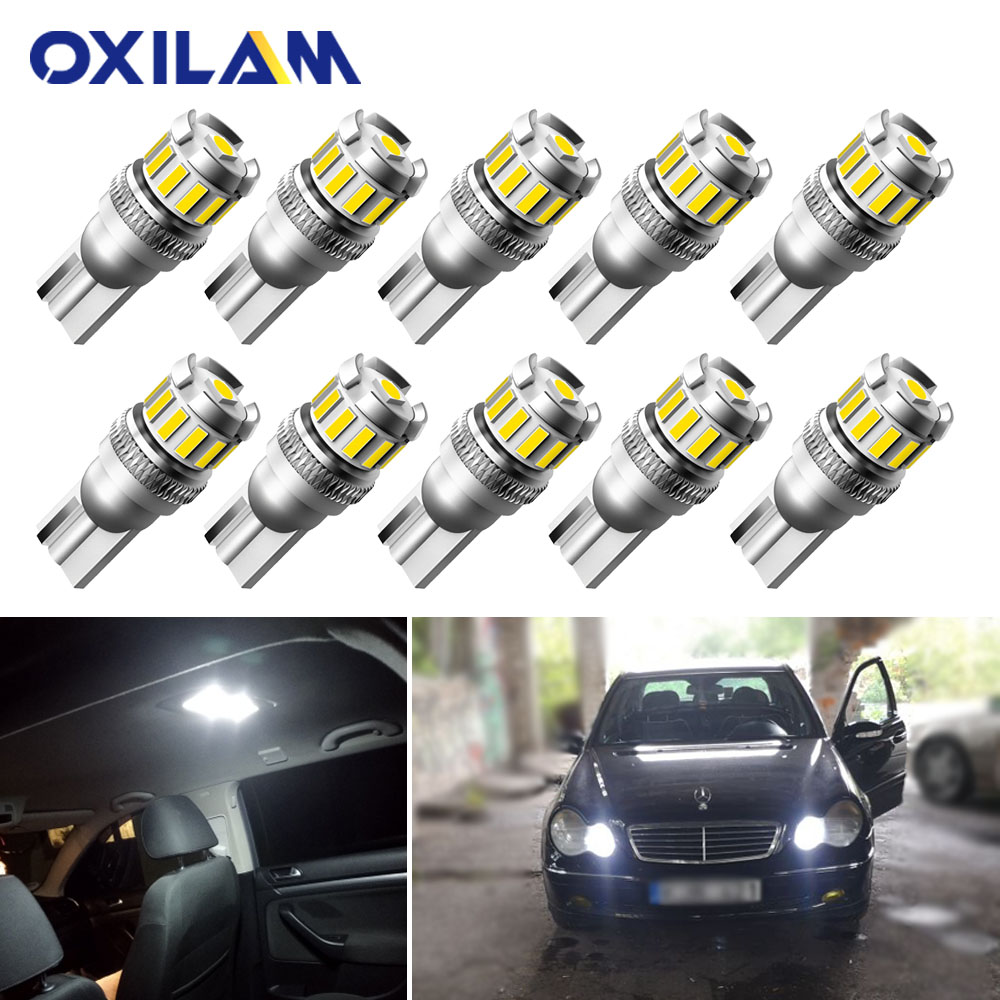 10Pcs T10 LED White Error Free Clearance Lights Bulb for <font><b>Mercedes</b></font> <font><b>Benz</b></font> W205 W210 W212 W221 W202 W177 W213 W <font><b>211</b></font> 163 C207 CLA Auto Interior Lamp W5W 3030 SMD 12V image