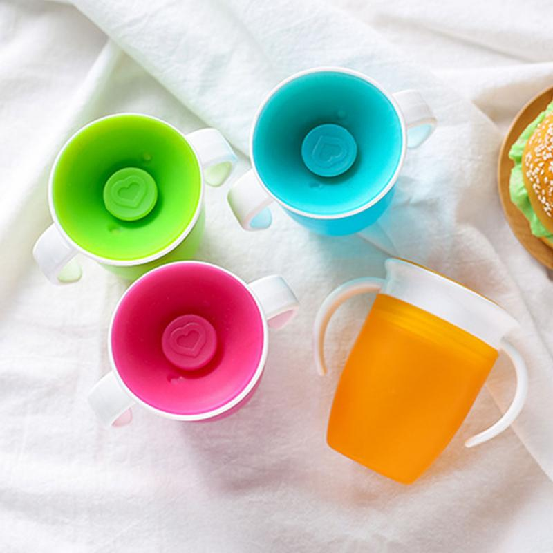 360 Degrees Rotated With Double Trainning Feeding Handle Water Leakproof Free Infant Cup Lid Flip Bottle BPA Taza Safe Copo Baby