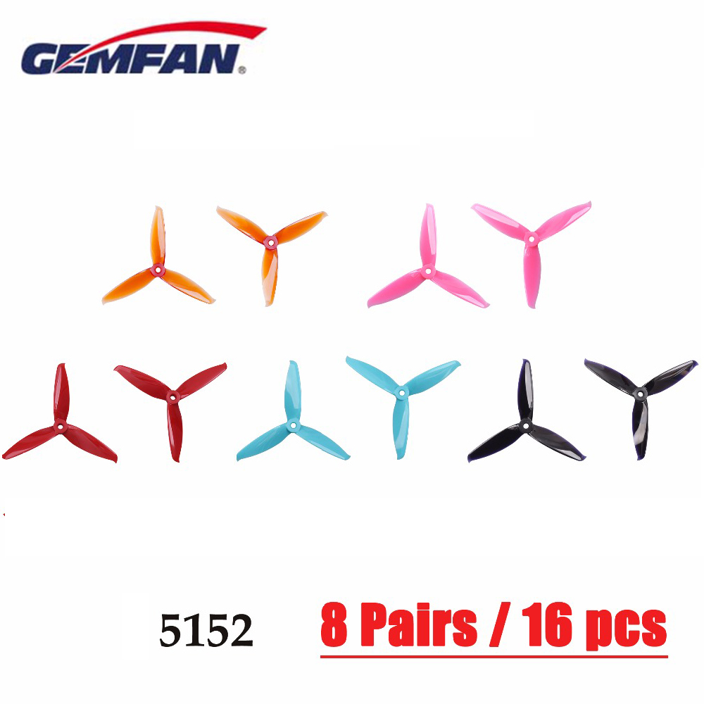 8 Pairs 16 Pcs Gemfan 5152 3 Blade PC Propeller CW CCW  Prop For Brushless Motors FPV Freestyle Frame