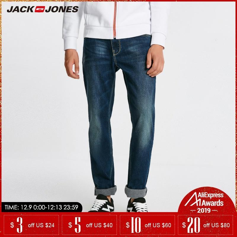 Jack Jones Men Warm Cotton Solid Straight Denim Trousers Biker Jeans   218432505