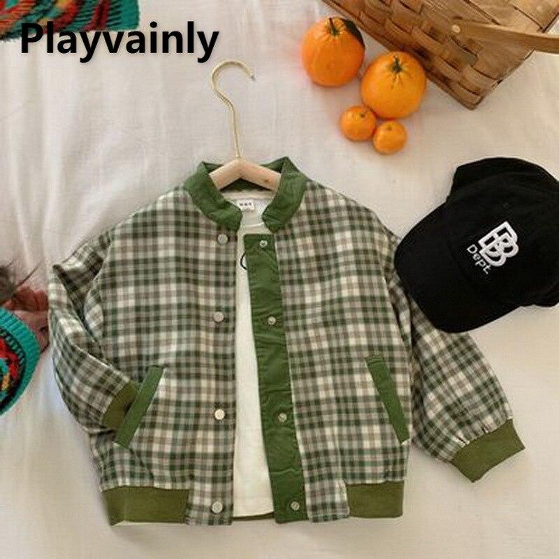 Новинка 2021, куртки для мальчиков и девочек, детские пальто, зеленые клетчатые Повседневные детские куртки с длинным рукавом для мальчиков и ...