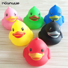 6pcs Colorful Duck Children Water Bath Toys Kids Float Squeeze Sound Rubber Beach Swimming Pool Baby Shower Toys 647