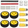 DC 3 V-6 V Шестерня TT Мотор + колесо для шин комплект для Arduino DIY умный автомобиль робот Электрический колеса комплект прочный анти-помехи