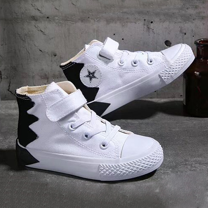 White Black Sneakers For Girls Boys Canvas Shoes New Patchwork Kids Tennis Shoes High Tops Children Sneakers Spring Autumn