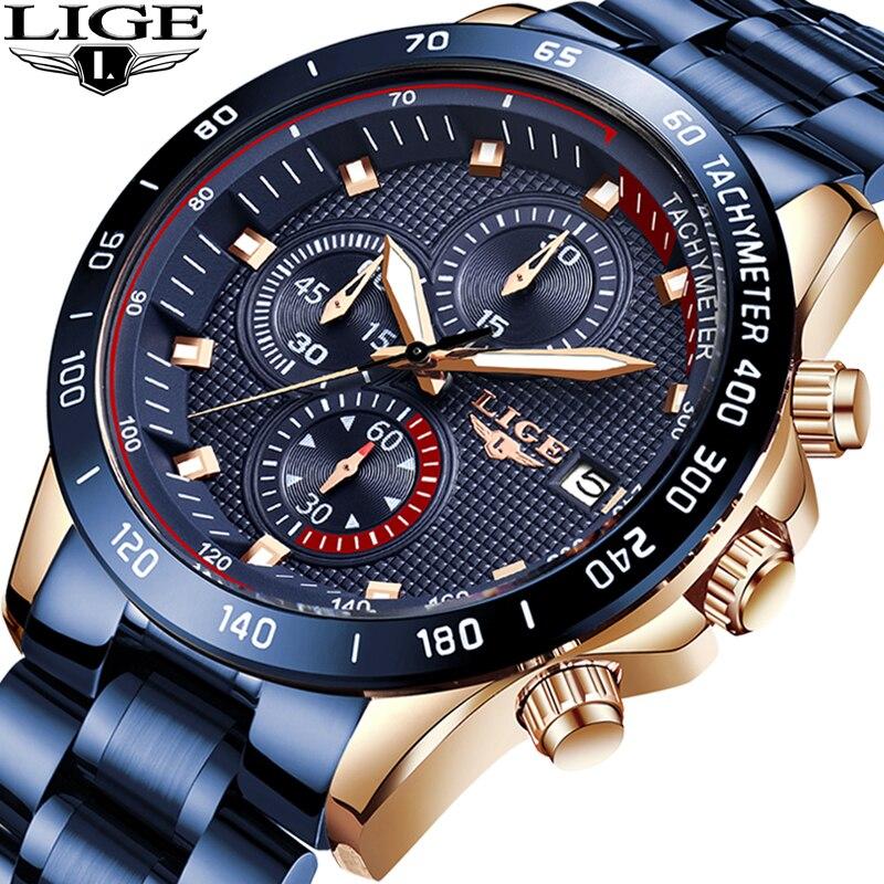 LIGE Hot Fashion Business Men Watches Analog Sport Clock Full Steel Waterproof Wrist Watch For Men relogio masculino Male Clock|Quartz Watches| |  - title=