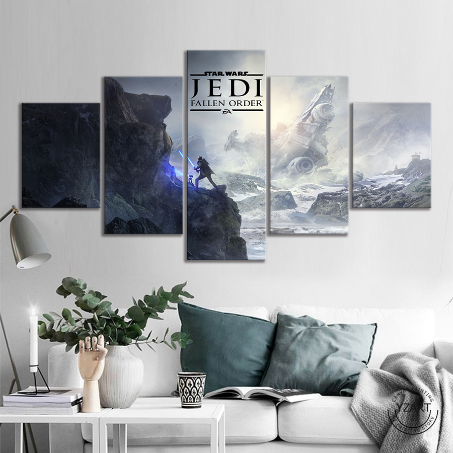 5pcs Lightsaber Star Wars Jedi Fallen Order Video Game Posters Canvas Art Wall Paintings for Living Room Decor image