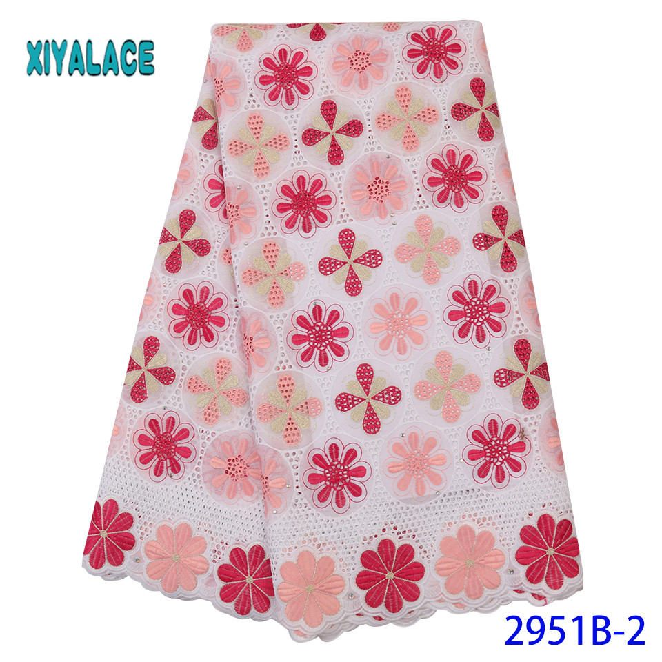 2019 Luxury French Lace Fabric High Quality African Nigerian Flower Embroidered Tulle Lace Fabric Stones For Wedding YA2951B-2