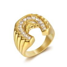 mensazone new family have 2 children ring aaa cz stone gold color can rotate 316 l stainless steel rings jewelry for women men Hip Hop Iced Out Bling Gold Color Stainless Steel Ring Micro Paved CZ Horse Head & Horseshoe Rings for Men Jewelry Dropshipping