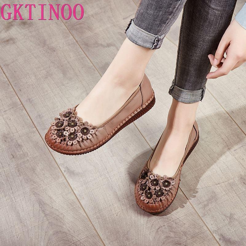 GKTINOO New Handmade Women Genuine Leather Shoes Spring Autumn Retro Women Flats Casual Basic Female Slip On Flat Round Toe Shoe