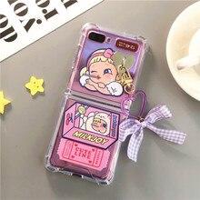 Retro Meisje Transparante Case Voor Samsung F7070 Z Flip Cover Boog Lanyard Voor F7000 Z Flip Samsung Galaxy Verjaardagscadeau