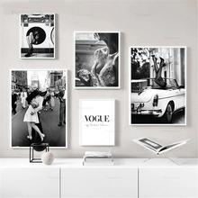 Модный плакат настенный художественный принт черно белый холст