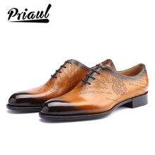 Zapatos de cuero para hombre, zapatos formales Oxford de cuero genuino Vintage Retro de moda para boda Oficina, zapatos casuales de fiesta de lujo