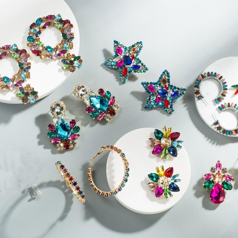 KMVEXO Colorful Crystal Drop Earrings Women Round Geometric Pendant Dangle Earrings Indian Bridal Statement Jewelry Party Bijoux