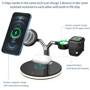 Image 3 - 3 in 1  15W Fast Charging Station Magnetic Wireless Charger for Magsafe iPhone 12 pro Max Chargers for Apple Watch Airpods pro