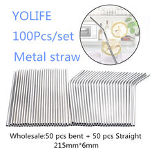 Eco Friendly Straws 100Pcs/Set Metal Straw Reusable Wholesale Stainless Steel Drinking Tubes 215mm*6mm Straight Bent Straws(China)