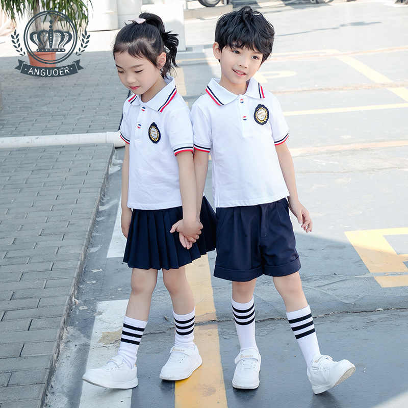 [アンフルーツ] 若い STUDENT'S 学校均一な白色ポロシャツセットファッション英国スタイル幼稚園スーツ夏