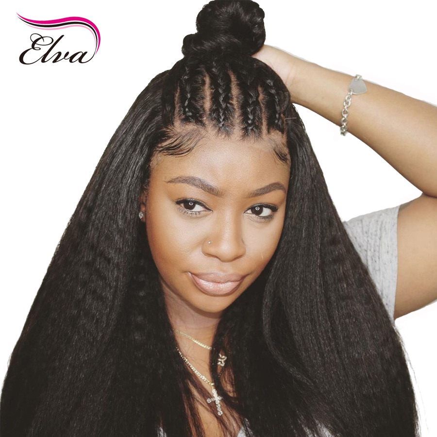 Kinky Straight 13x6 Lace Front Human Hair Wigs With Baby Hair Pre-Plucked Hairline Brazilian Remy Hair 150% Density Elva Hair